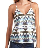 Geo-Tribal Sequin Swing Tank Top by Charlotte Russe - Blue Combo