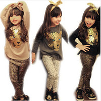 Animal Print Girls Long Sleeve Shirt + Leggings Set
