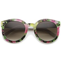 Women's Spring Floral Print Oversize Round Sunglasses A187