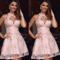 2016 Prom Dress Formal Dresses Homecoming 2016 Illusion High Neck Pink Lace Homecoming Dresses Sheer Neck Short Prom Dress
