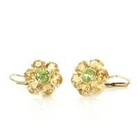Citrine Peridot Flower Earrings 14 Karat Gold Estate Fine Jewelry Vintage Heirloom