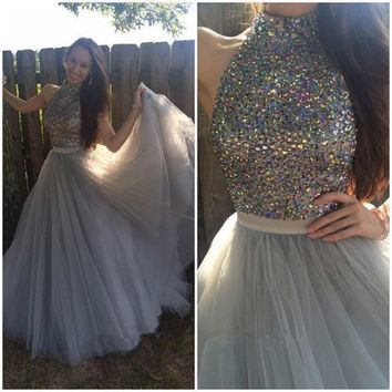 Crystal High Neck A-Line Prom Dresses