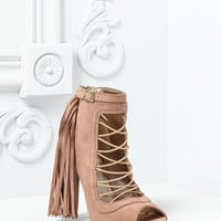 TAUPE STRAPPY FRINGE BOOTIES