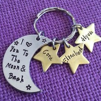 Mom Keychain - Mother's day gift- I love you to the moon and back - Mother's Jewelry - Mom Necklace - Initial Star Necklace - Gift for Mom