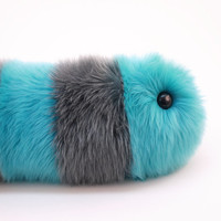 Reserved for Casey Stuffed Animal Cute Plush Toy Caterpillar Kawaii Plushie  Aqua and Gray Snuggle Worm Faux Fur Toy Large 8x24 Inches