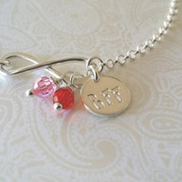 Infinity Best Friends Bracelet in Stelring Silver with BFF Charm and Birthstones--Gift for Best Friend