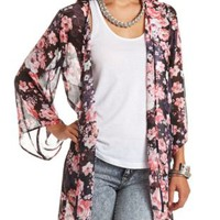 Open Front Floral Print Kimono Top by Charlotte Russe - Black Combo