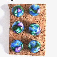 On Sale Purple and Blue Flower Giant Pushpins Thumbtacks for Bulletin Board Cork Boards