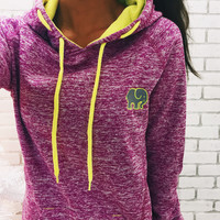 Embroidered Electric Magenta Hoodie