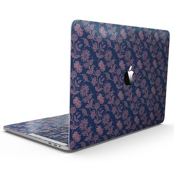 Vintage Coral Floral Over Navy  - MacBook Pro with Touch Bar Skin Kit