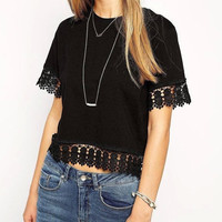 Lace Edge Short-Sleeve Crop Tank Shirt