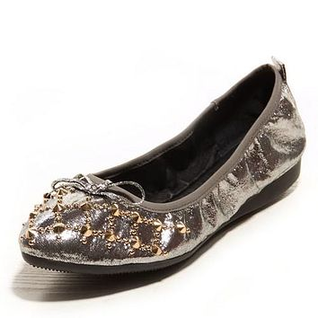 Women Flats Knot Studded Gum Outsole Ballet Shoes Woman Loafers 3416