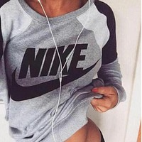 NIKE Fashion Letter Print Round Neck Top Pullover Sweater Sweatshirt F