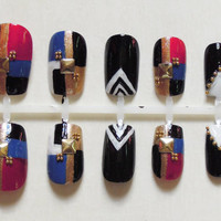 Mondrian Collage, Red, Blue, Gold, Black and White False Nails with Gold Studs and Beads