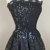 1980s poofy prom formal dress lace ruffle black sequined