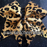 Cheer Bow - Gold Cheetah Sequins