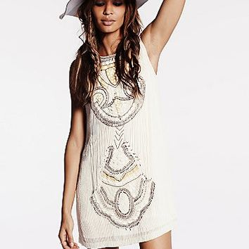 Free People Womens All in a Row Beaded Shift Dress