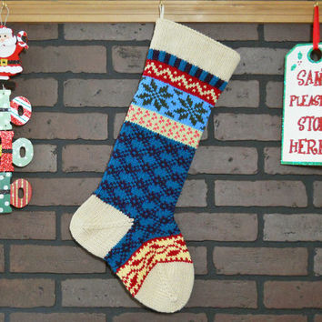 Personalized Christmas Stocking Hand Knit in Heather Tan with ivy and snowflakes, colorful stocking, Fair Isle knit stocking