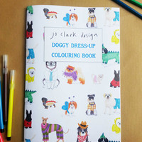 Dog Coloring in Book Colouring Book Doggy Dress Up Dog Cute Costume Activities Kids Party Halloween