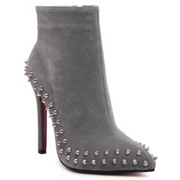 Rivet Studded Ankle Boots With Suede
