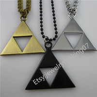 Anime Cosplay Legend of Zelda Necklace Polished Alloy Dangle Triangle Triforce Pendant  & Chain Necklace Movies Jewelry Making Charms