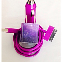 Customized Galaxy Space I Phone charger in different USB color