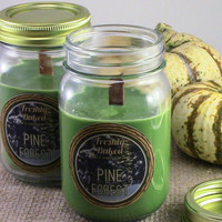 Pine Forest Soy Candle (Pine Tree Scented, Vegan, Green, No Phthalates, Winter Candle) Wood Wick. Holiday & Christmas Candle, Handcrafted