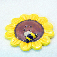 Ceramic Flower Bee Button Yellow by GrapeVineCeramicsGft on Etsy