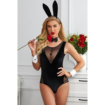 Black Mesh Lace Splicing Bunny Girl Costume Teddy Lingerie