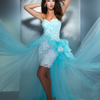Mac Duggal Prom 2013-Powder Blue Gown With Chiffon Train - Unique Vintage - Cocktail, Pinup, Holiday & Prom Dresses.