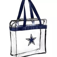 Dallas Cowboys Clear Plastic Zipper Tote Bag NFL 2017 Stadium Approved