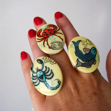 Vintage Zodiac Cocktail Rings. What's Your Sign