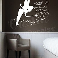 Vinyl Wall Decal Sticker Tinkerbell Quote Fairy Kids Nursery Bedroom r1895