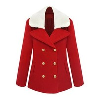 ZLYC Women Fashion Wool Blend Double Breasted Winter Peacoat with Sherling Collar