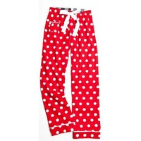 Boxercraft Polka Dot Red & White Tie Cord Flannel Pants, Adult Sizes