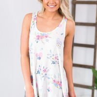 Pretty In Floral Tank- Ivory