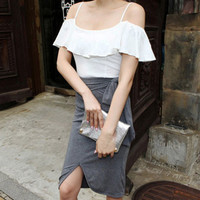 Flirty Ruffles Off The Shoulder White Slim Fit Top
