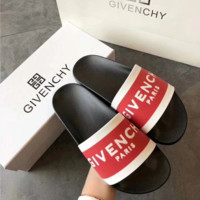 Black Red GIVENCHY Slippers Casual Fashion Summer Vacation Ocean Holiday Wear
