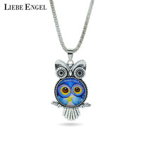 LIEBE ENGEL fashion Owl pendant necklace newest glass cabochon necklace in jewelry vintage silver color statement chain necklace