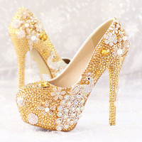 Peacock Crystal Wedding Shoes Pumps Heels