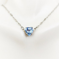 Heart Necklace - Wife Gift - Simple Heart Jewelry - Delicate Necklace - Stainless Steel - Mom Gift - Valentines Gift - Sapphire Blue Jewelry