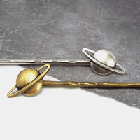 Planet Saturn Bobby Pin, Silver Plated or Antiqued Brass