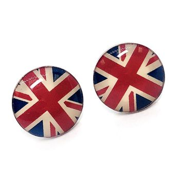 British Flag Enamel Button Stud Earrings