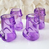 4 Clear Purple Pecker Shot Glasses Plastic Bachelorette Party Penis Shot Glass