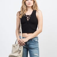 Knitted Lace-Up Crop Top