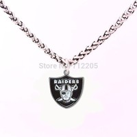 Fans Collection Enamel single-sided Oakland Raiders 10pcs Wheat Link Chain with Large Clasp football necklace