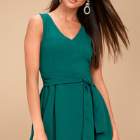 Lucai Teal Green Knotted Skater Dress