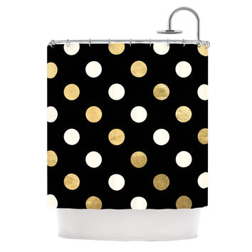 "KESS Original ""Golden Dots"" Black Gold Shower Curtain"