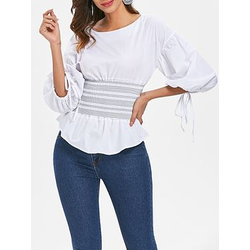 Bubble Sleeve Three Quarter Sleeve Flounced Smocked Women Blouse 6093