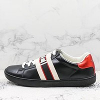 Gucci Stripe Leather Sneaker Black - Best Deal Online